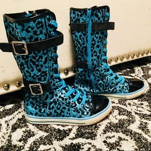 Girls Justice blue sequins cheetah sneakers size 2